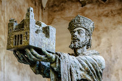 King Willam offering Monreale cathedral to Virgin Mary. The Cathedral of Monreale is a good example of Norman architecture royalty free stock photography