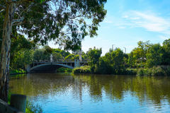 King William Road Bridge, Adelaide, South Australia. View of King William Bridge, from Adelaide Riverbank acroos the Torrens River, South Australia Royalty Free Stock Images