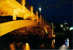 King William Street Bridge - Adelaide, Australia. Photo taken in the Evening and shows the reflections of Adelaide over the Torrens River Royalty Free Stock Photos