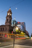 King William Street at night, Adelaide, South Australia Stock Image