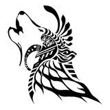 King of wolf with Aztec tribal silhouette tattoo. Style with white background Stock Photography