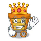 King wooden trolley mascot cartoon. Vector illustration stock illustration