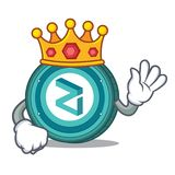 King Zilliqa coin mascot cartoon. King Zilliqa coin macot cartoon vector illustration Royalty Free Stock Images