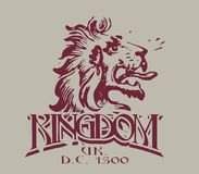 By kingdom. Lion's head graphic on burgundy colored gray on the floor royalty free illustration