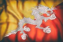 Kingdom of Bhutan flag waving Stock Photo