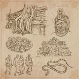 Kingdom of Cambodia - Hand drawn vector pack. An hand drawn collection, Travel - CAMBODIA. Description, Vector freehand sketches. Editable in layers and groups royalty free illustration