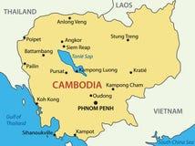 Kingdom of Cambodia - map - vector Royalty Free Stock Photo