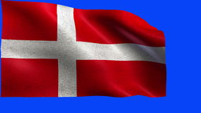 Kingdom of Denmark, flag of Denmark, Danish Flags - loop stock video footage