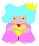 Kingdom Golden Heart. Clip art icon of a unisex prince or princess, king or queen, with golden heart and crown Royalty Free Stock Photo