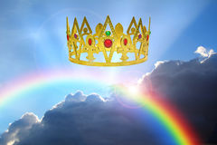 Kingdom of the heavens. Concept photo of kingdom of the heavens with golden crown and rainbow representing peaceful reign of jesus christ as king Stock Photos