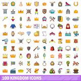 100 kingdom icons set, cartoon style. 100 kingdom icons set. Cartoon illustration of 100 kingdom vector icons isolated on white background Royalty Free Stock Photography