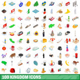 100 kingdom icons set, isometric 3d style. 100 kingdom icons set in isometric 3d style for any design vector illustration Stock Image