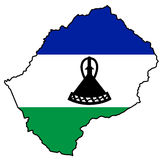 Kingdom of Lesotho. Territory of Lesotho filled with the national flag Stock Photography