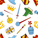 Kingdom pattern - castle, spear, shield, knights, helmets in flat style. Kingdom pattern - castle, spear, shield, knights, helmets, magic wand, book of magic Stock Photos