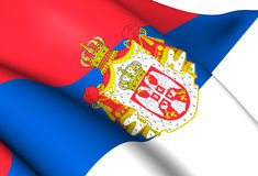 Kingdom of Serbia Flag Stock Images