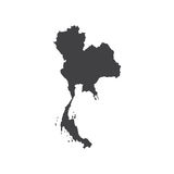 Kingdom of Thailand map silhouette Stock Photo