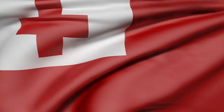 Kingdom of Tonga flag. 3d rendering of  Kingdom of Tonga flag waving Stock Photos