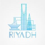 Kingdom tower - The symbol of Riyadh, Saudi Arabia. Modern linear minimalist icon. One line sightseeing concept. Stock Images