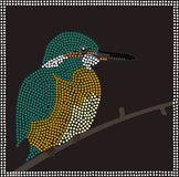 Kingfisher. A illustration based on aboriginal style of dot painting depicting Kingfisher Royalty Free Stock Images