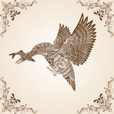 Kingfisher Bird Thai Pattern Vector. Illustration,Asian art Stock Photo