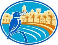 Kingfisher Mediterranean Coast Oval Retro Royalty Free Stock Photo