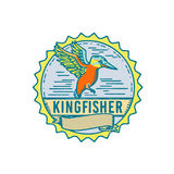 Kingfisher Side Rosette Retro. Illustration of a Kingfisher flying viewed from Side with scroll set inside Rosette shape and word text `Kingfisher` done in Retro Royalty Free Stock Photography