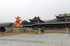 Kingkong statue and building of xuedousi temple, adobe rgb Stock Photography