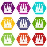 Kingly crown icon set color hexahedron Stock Photo