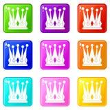 Kingly crown icons 9 set Royalty Free Stock Photos
