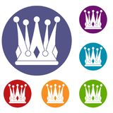 Kingly crown icons set. In flat circle red, blue and green color for web Stock Photography