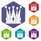 Kingly crown icons set hexagon Royalty Free Stock Photo