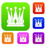 Kingly crown set color collection Stock Image