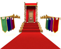 KingQueen for a Day. Red carpet flanked by trumpets leading to a throne with a crown resting on a pillow Stock Image