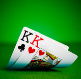 Kings. Pockets kings with plenty of felt background Royalty Free Stock Image