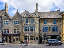 Kings Arms historic Inn in historic cotswold town of Stow on the Wold. In Gloucestershire, UK on 3 August 2018 royalty free stock photo