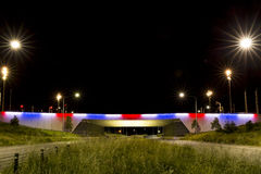 Kings Avenue Bridge in blue, white and red Stock Photo