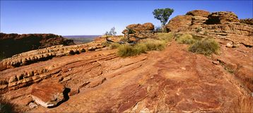 Kings Canyon rock. Red stones. Solar and midday sun Kings Canyon in Australia Stock Photography