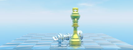 Kings checkmate - 3D render. Chessboard with kings, one chackmate and blue sky - 3D render vector illustration