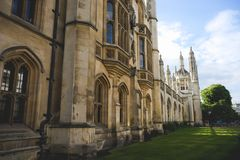 Kings College, Cambridge University building, England. British Architecture. Kings college at Cambridge university on a sunny day Stock Photos