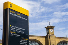 Kings Cross Pedestrian Sign and Kings Cross Station Stock Photos