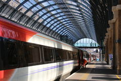 Kings Cross Station, London, England. This is the train station in London called King's Cross. We are beginning to board the train to Edinburgh, Scotland Stock Photography