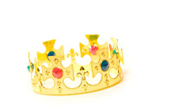 Kings crown. A golden crown with jewelry on white background Stock Photo