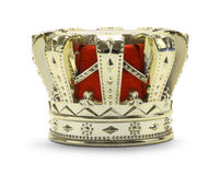 Kings Crown. Gold Kings Crown with Red Felt Isolated on a White Background Royalty Free Stock Photography