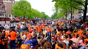 Kings day in Amsterdam the Netherlands stock footage