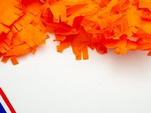 Kings day (koningsdag in Dutch) decorations on a light background royalty free stock photos