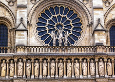 Kings Facade Rose Window Notre Dame Cathedral Paris France Stock Photo