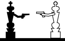 Kings fight. Vector , illustration. Two chess kings are fighting with guns Stock Image