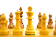 Chess board with king in focus Royalty Free Stock Photography