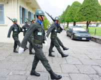 Kings Guards are marching in Bangkok Stock Image