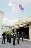 Kings Guards are marching in Bangkok Royalty Free Stock Photo